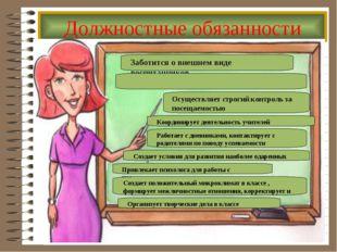 Должностные обязанности Заботится о внешнем виде воспитанников Осуществляет с