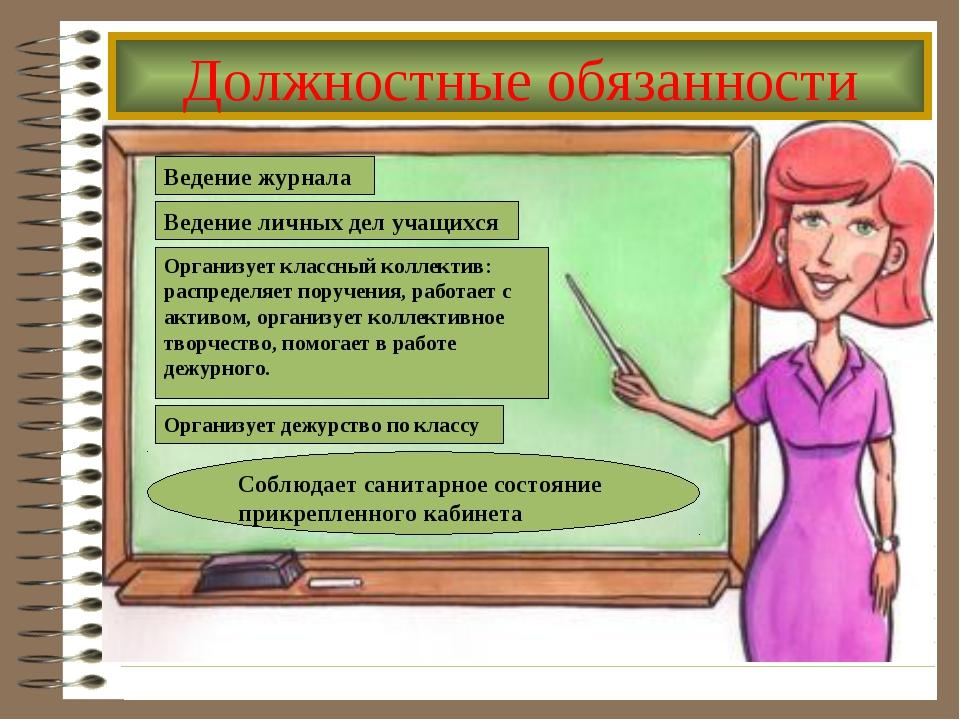 Должностные обязанности Ведение журнала Ведение личных дел учащихся Организуе...