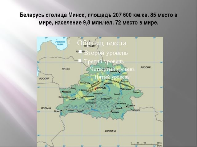 Беларусь столица Минск, площадь 207 600 км.кв. 85 место в мире, население 9,8...