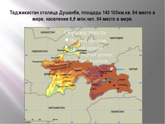 Таджикистан столица Душанбе, площадь 143 100км.кв. 94 место в мире, население...
