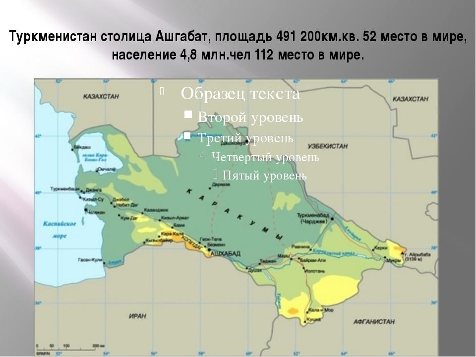 Туркменистан столица Ашгабат, площадь 491 200км.кв. 52 место в мире, населени...