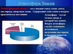 Атмосферный воздух - это сложная смесь газов: азота, кислорода, инертных газо