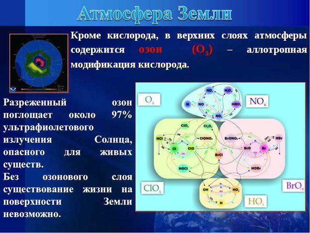 Кроме кислорода, в верхних слоях атмосферы содержится озон (О3) – аллотропная...