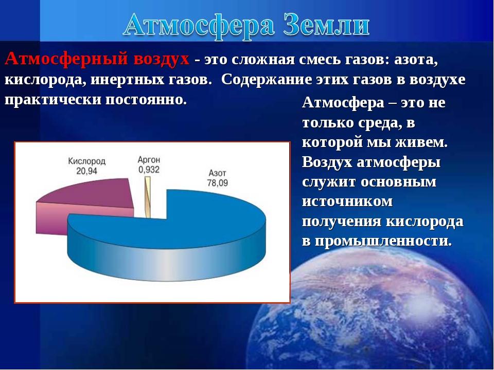 Атмосферный воздух - это сложная смесь газов: азота, кислорода, инертных газо...