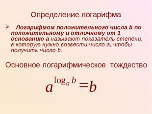 Определение логарифма Логарифмом положительного числа b по положительному и о
