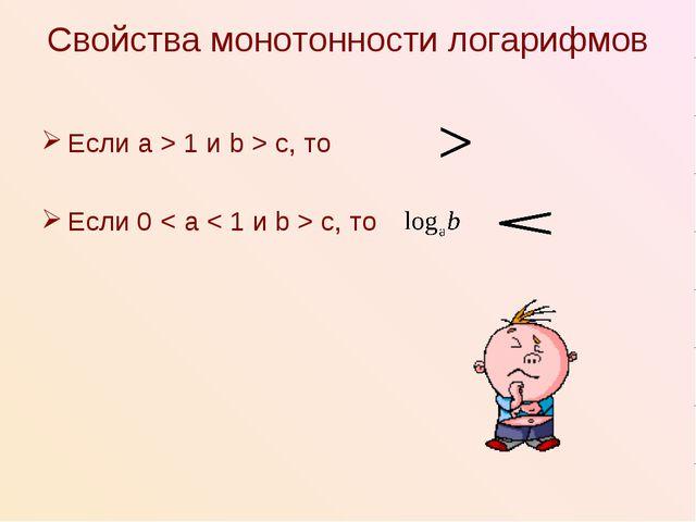 Свойства монотонности логарифмов Если a > 1 и b > c, то Если 0 < a < 1 и b >...
