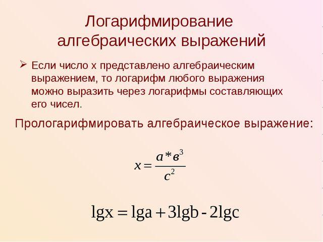 Логарифмирование алгебраических выражений Если число х представлено алгебраич...