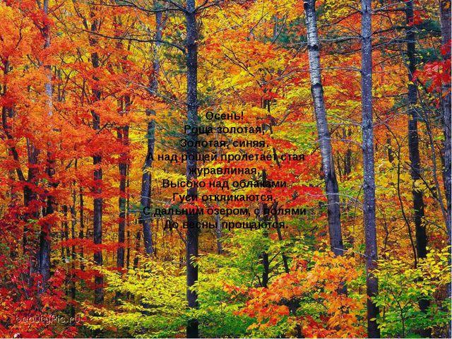 Осень! Роща золотая, Золотая, синяя. А над рощей пролетает стая журавлиная. В...