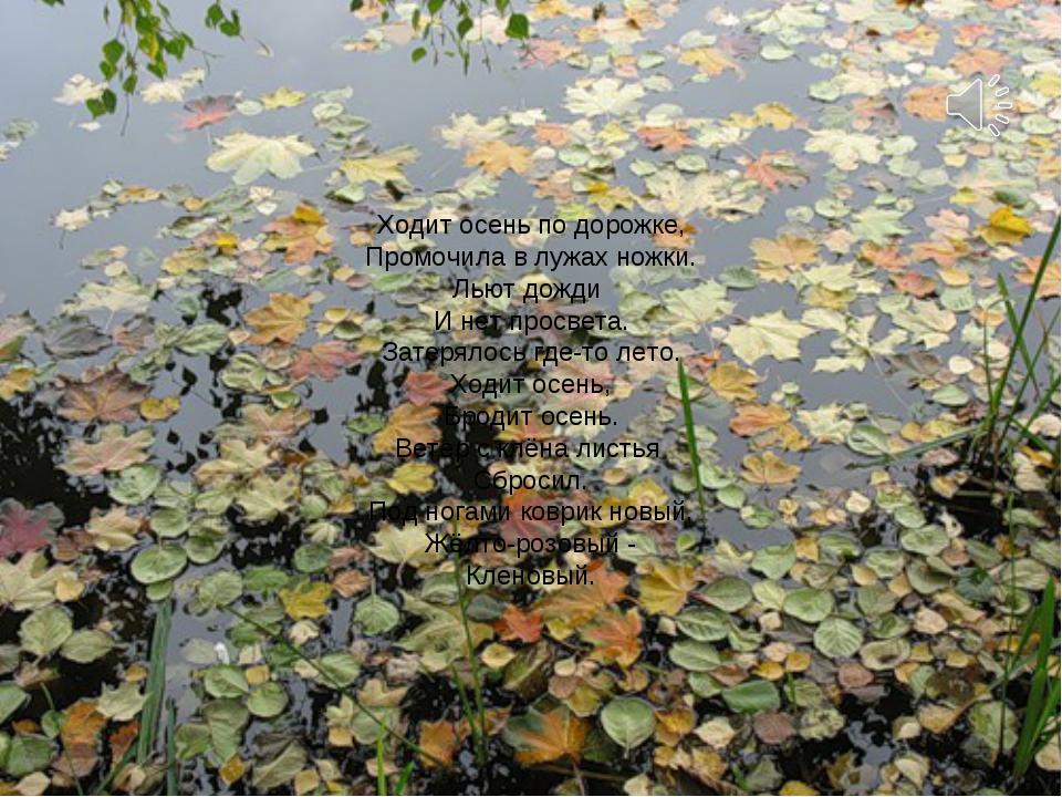 Ходит осень по дорожке, Промочила в лужах ножки. Льют дожди И нет просвета. З...