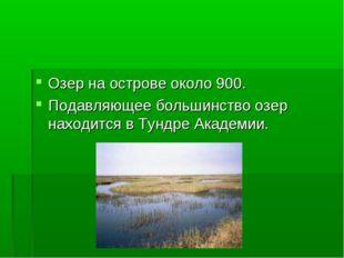 Озер на острове около 900. Подавляющее большинство озер находится в Тундре Ак