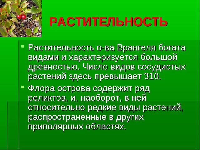 РАСТИТЕЛЬНОСТЬ Растительность о-ва Врангеля богата видами и характеризуется...