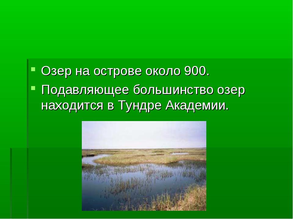 Озер на острове около 900. Подавляющее большинство озер находится в Тундре Ак...
