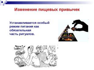Изменение пищевых привычек Устанавливается особый режим питания как обязатель