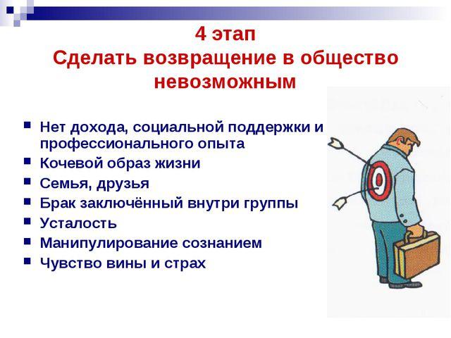 4 этап Сделать возвращение в общество невозможным Нет дохода, социальной подд...