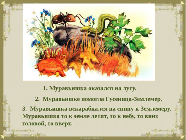 1. Муравьишка оказался на лугу. 2. Муравьишке помогла Гусеница-Землемер. 3....