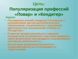 Цель: Популяризация профессий «Повар» и «Кондитер» Задачи: Расширение знаний