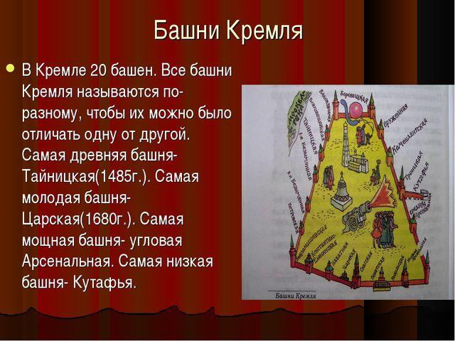 Башни Кремля В Кремле 20 башен. Все башни Кремля называются по-разному, чтобы...