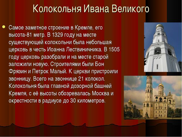Колокольня Ивана Великого Самое заметное строение в Кремле, его высота-81 мет...