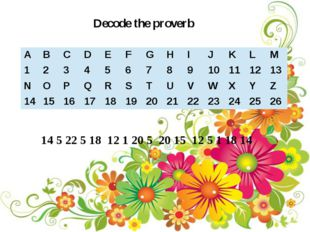 Decode the proverb 14 5 22 5 18 12 1 20 5 20 15 12 5 1 18 14 A B C D E F G H