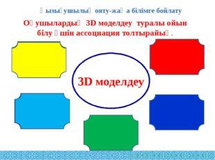 Оқушылардың 3D моделдеу туралы ойын білу үшін ассоциация толтырайық. 3D модел