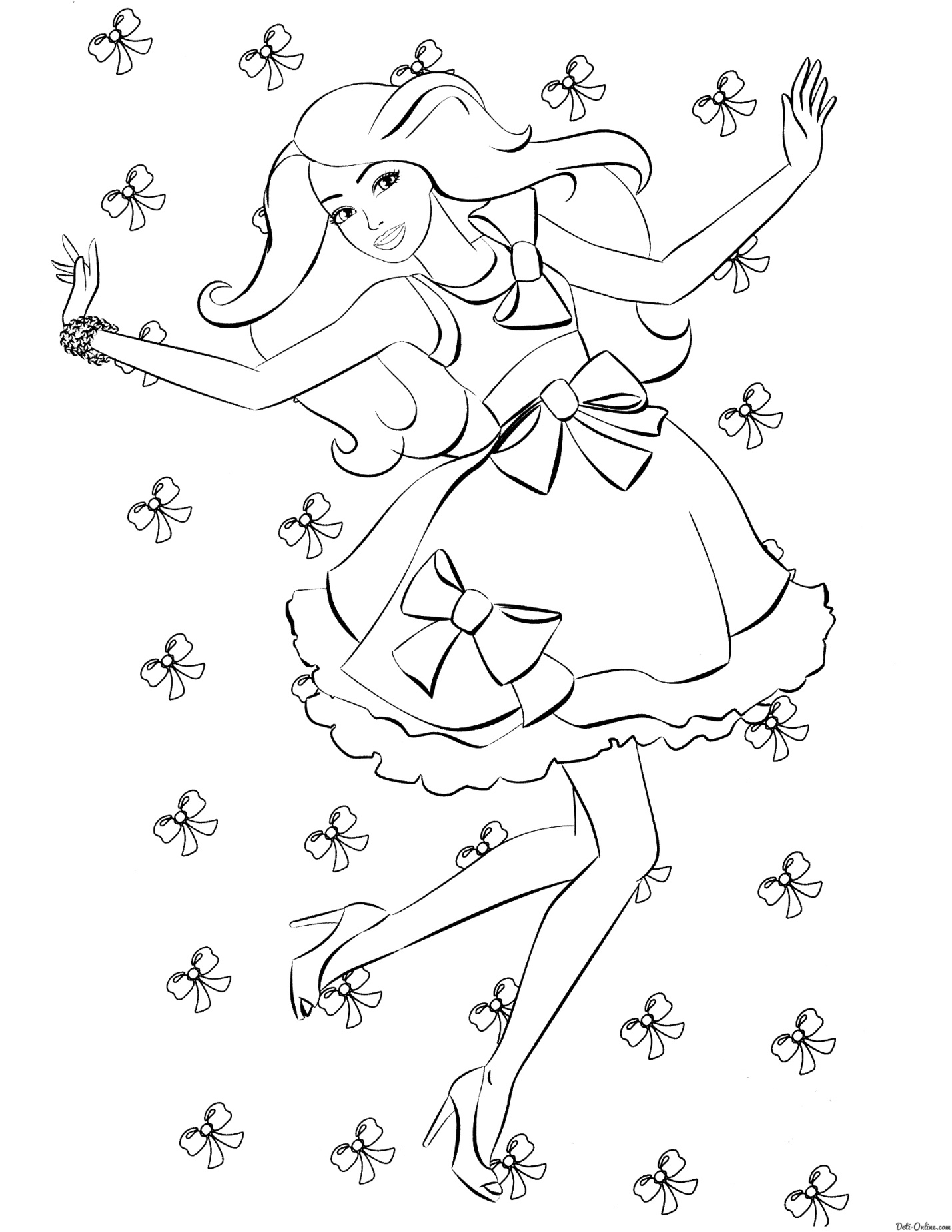 Раскраска Барби и банты