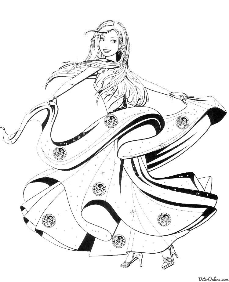 Раскраска Барби танцует в бальном платье