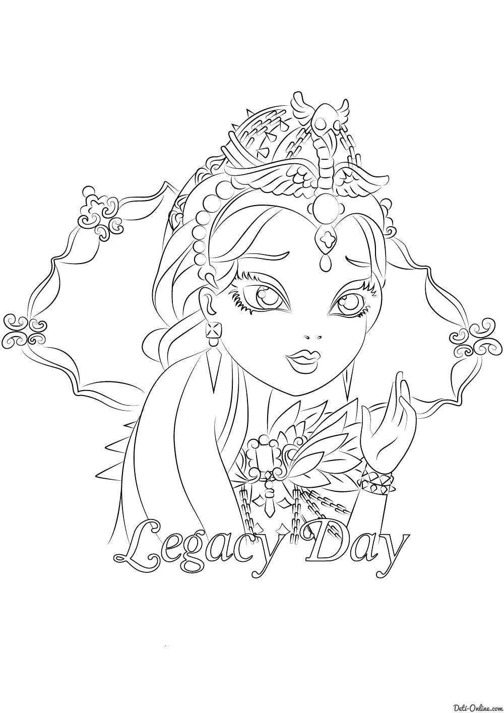 Раскраска Рейвен Куин (Legacy Day)