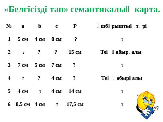 «Белгісізді тап» семантикалық карта. № a b c P Үшбұрыштың түрі 1 5 см 4см 8 с...