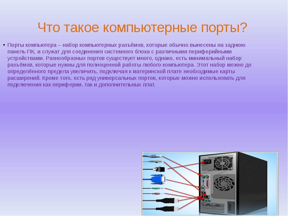 Что такое компьютерные порты? Порты компьютера – набор компьютерных разъёмов,...