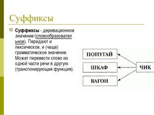 Суффиксы Суффиксы-деривационное значение(словообразовательное). Передают и
