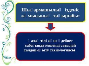 Шығармашылық ізденіс жұмысының тақырыбы: Қазақ тілі және әдебиет сабағында ке
