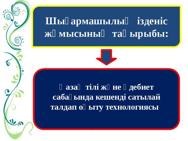 Шығармашылық ізденіс жұмысының тақырыбы: Қазақ тілі және әдебиет сабағында ке...