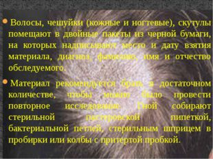 Волосы, чешуйки (кожные и ногтевые), скутулы помещают в двойные пакеты из чер