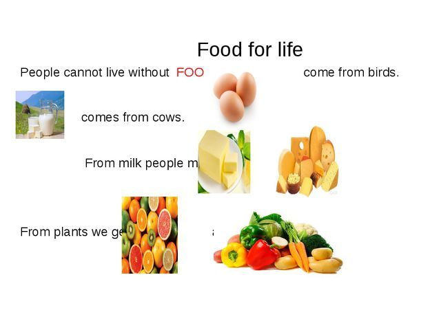 Food for life People cannot live without FOOD. come from birds. comes from c...