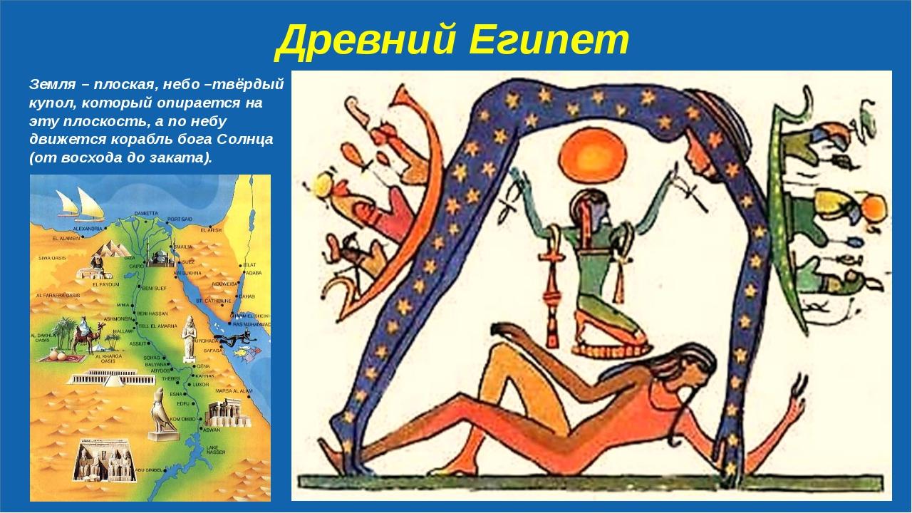 Древний Египет Земля – плоская, небо –твёрдый купол, который опирается на эт...