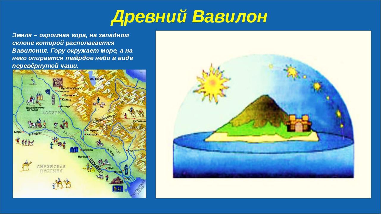 Древний Вавилон Земля – огромная гора, на западном склоне которой располагае...