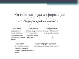 Классификация информации По форме представления текстовая числовая графическа
