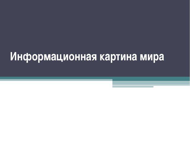 Информационная картина мира Демяшкевич Надежда Семеновна учитель информатики...