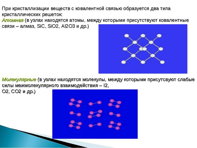 При кристаллизации веществ с ковалентной связью образуется два типа кристалли...