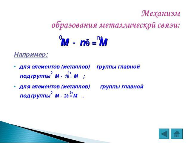 0 n+ М - nē = М Например: для элементов (металлов) Ι группы главной 0 1+ под...