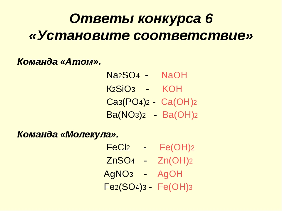 Ответы конкурса 6 «Установите соответствие» Команда «Атом». Nа2SO4 - NaOH К2S...