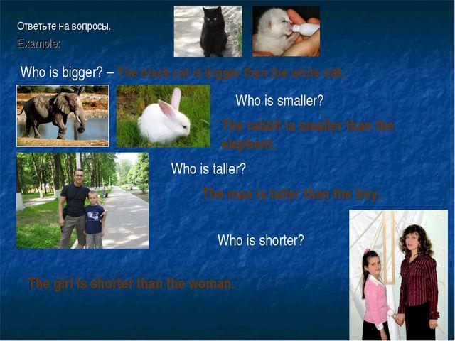 Ответьте на вопросы. Example: Who is bigger? – The black cat is bigger than t...