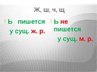 Ж, ш, ч, щ Ь пишется у сущ. ж. р. Ь не пишется у сущ. м. р.