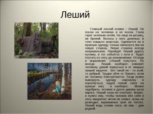 Леший Главный лесной хозяин – Леший. Он похож на человека и не похож. Глаза г
