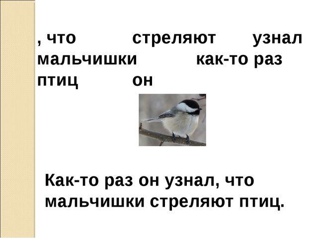 , что стреляют  узнал мальчишкикак-то раз птицон Как-то раз он узнал,...