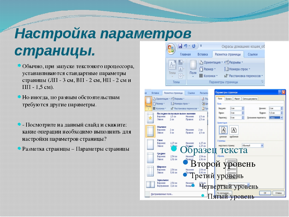 Настройка параметров страницы. Обычно, при запуске текстового процессора, уст...