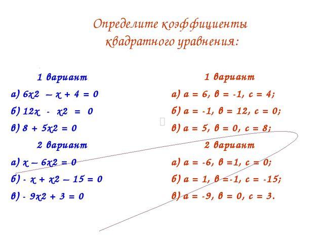 1 вариант а) 6х2 – х + 4 = 0 б) 12х - х2 = 0 в) 8 + 5х2 = 0 2 вариант а) х –...