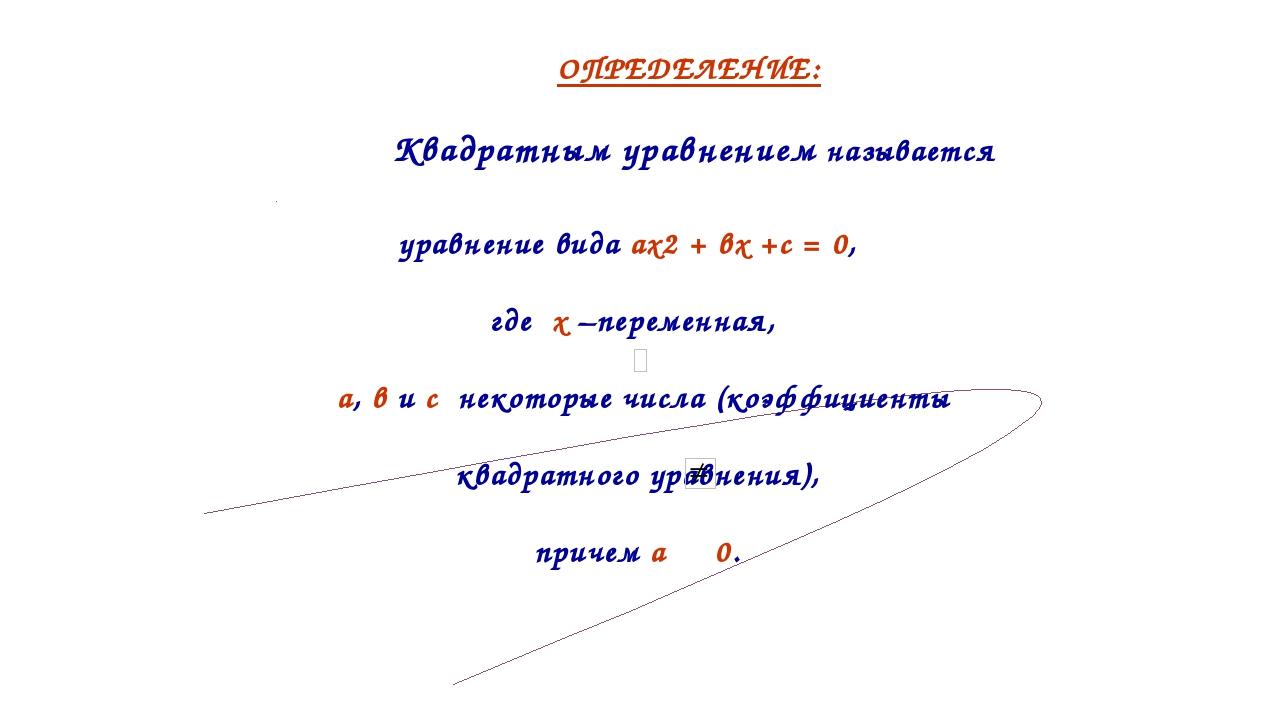 уравнение вида ах2 + вх +с = 0, где х –переменная, а, в и с некоторые числа...