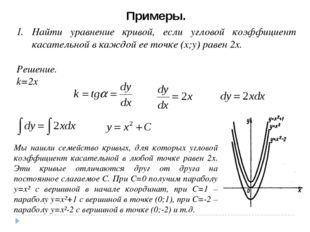Примеры. Найти уравнение кривой, если угловой коэффициент касательной в каждо