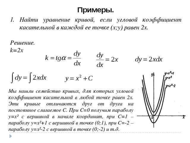 Примеры. Найти уравнение кривой, если угловой коэффициент касательной в каждо...